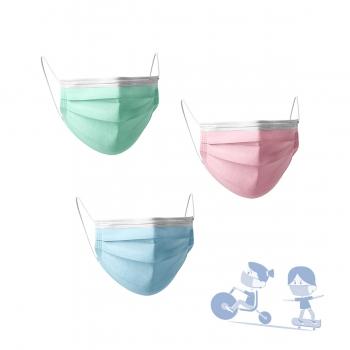 Máscaras Descartáveis Criança - Azul, Verde, Rosa - (30 unidades)